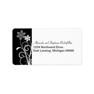 Dramatic Floral Swirls Address Labels, Black