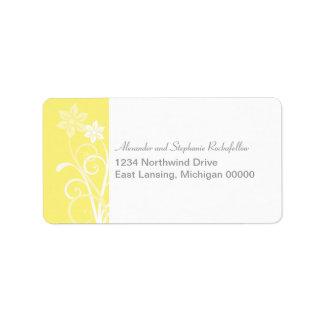 Dramatic Floral Swirls Address Labels, Yellow