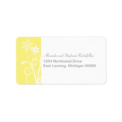 Dramatic Floral Swirls Address Labels, Yellow Label