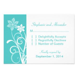 Dramatic Floral Swirls Response Card Custom Invitations