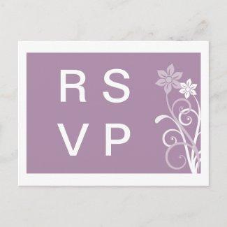 Dramatic Floral Swirls RSVP Postcard postcard