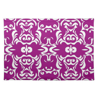 Dramatic Graphic Art Design Damask Fabric Print Place Mats