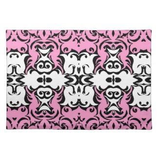 Dramatic Graphic Art Design Damask Fabric Print Placemat