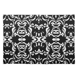 Dramatic Graphic Art Design Damask Fabric Print Placemats