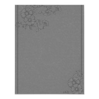 Dramatic Gray Henna Flowers RSVP Card