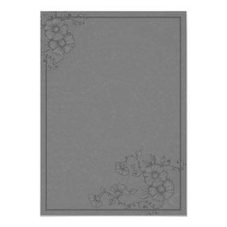 Dramatic Gray Henna Flowers Wedding Invitation