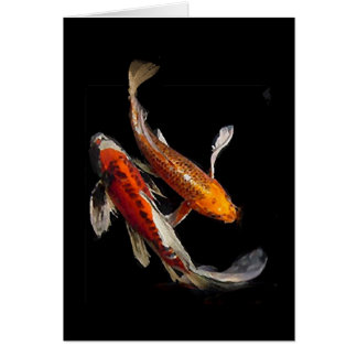 Dramatic Koi Pair Stationery Note Card