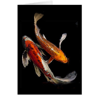 Dramatic Koi Pair with Japanese Proverb Card