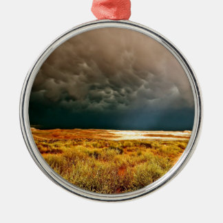 DRAMATIC LIGHT THROUGH DARK STORM CLOUDS METAL ORNAMENT