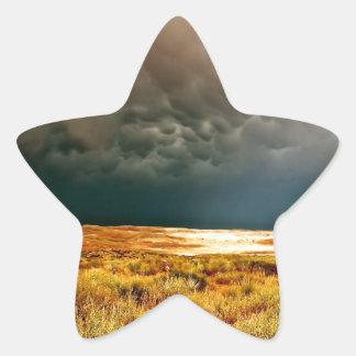 DRAMATIC LIGHT THROUGH DARK STORM CLOUDS STAR STICKER
