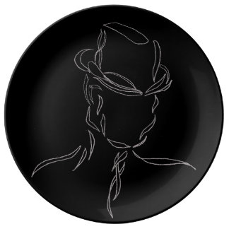 Dramatic Modern Abstract Man in Hat Black Grey Porcelain Plates