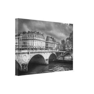 Dramatic Paris Cityscape, Black and White Canvas Print
