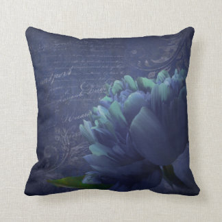 Dramatic periwinkle aqua peony floral throw pillow