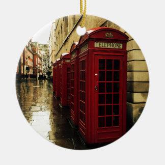 Dramatic phone boxes ceramic ornament