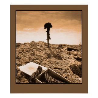 Dramatic photo: fallen American soldier Print