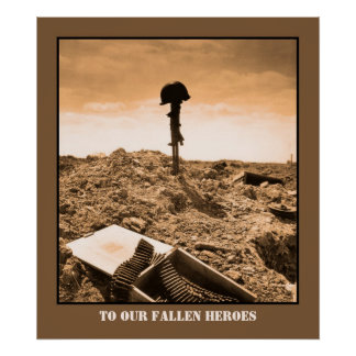 Dramatic photo: fallen American soldier Posters