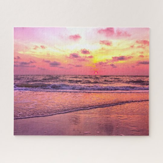 Dramatic Pink Sunset Over Ocean In Naples, Florida Jigsaw Puzzle