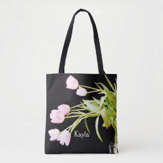 Dramatic Pink Tulips On Black Tote Bag
