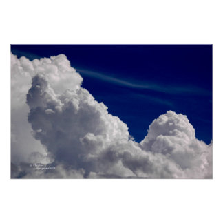 Dramatic puffy storm clouds poster
