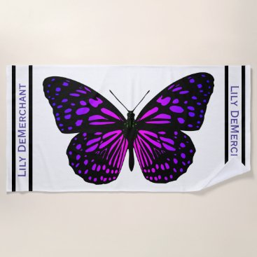 Beach Themed Dramatic Purple Black Butterfly Name Beach Towel