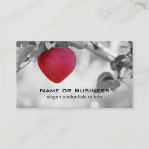 Heart shaped business cards zazzle dramatic red heart shaped apple business card colourmoves