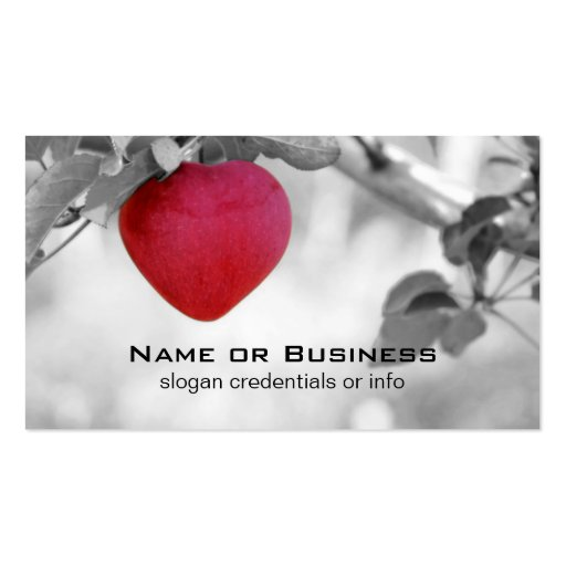 Dramatic red heart shaped apple business card zazzle for Heart shaped business cards