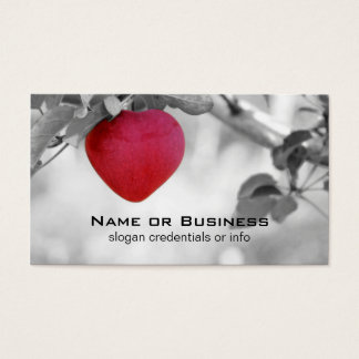 Dramatic Red Heart Shaped Apple Business Card