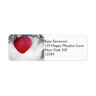 Dramatic Red Heart Shaped Apple Custom Return Address Labels