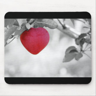 Dramatic Red Heart Shaped Apple Mouse Pad
