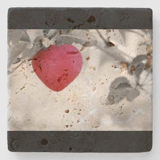 Dramatic Red Heart Shaped Apple Stone Coaster