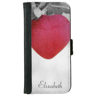 Dramatic Red Heart Shaped Apple Wallet Phone Case For iPhone 6/6s