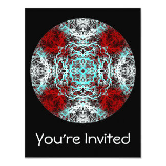 Dramatic Round Pattern. Red and Turquoise. 4.25x5.5 Paper Invitation Card