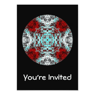 Dramatic Round Pattern. Red and Turquoise. 5x7 Paper Invitation Card