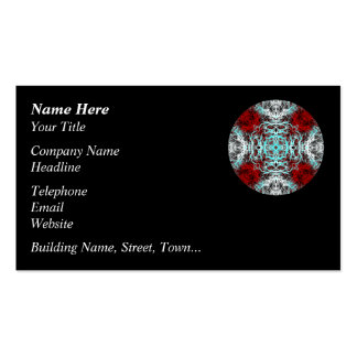 Dramatic Round Pattern. Red and Turquoise. Business Card