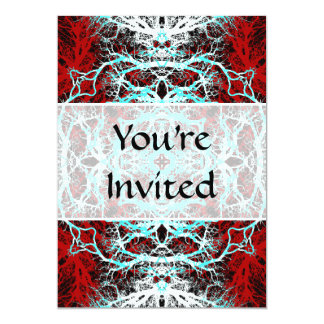 Dramatic Round Pattern. Red and Turquoise. Card