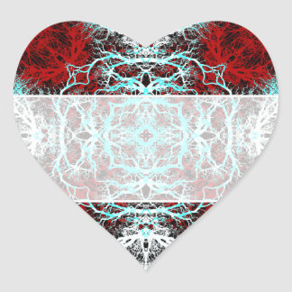 Dramatic Round Pattern. Red and Turquoise. Heart Sticker