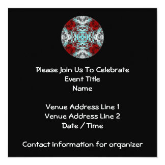 Dramatic Round Pattern. Red and Turquoise. Invitation