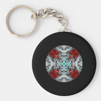 Dramatic Round Pattern. Red and Turquoise. Basic Round Button Keychain