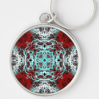 Dramatic Round Pattern. Red and Turquoise. Silver-Colored Round Keychain
