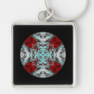 Dramatic Round Pattern. Red and Turquoise. Silver-Colored Square Keychain