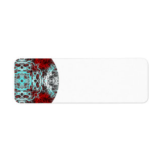 Dramatic Round Pattern. Red and Turquoise. Custom Return Address Label