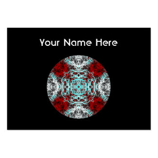 Dramatic Round Pattern. Red and Turquoise. Large Business Card