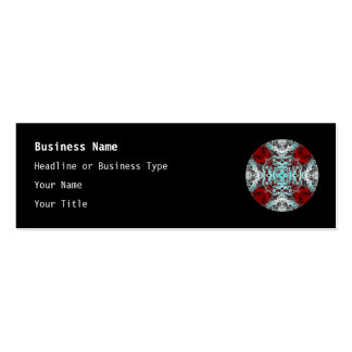 Dramatic Round Pattern. Red and Turquoise. Mini Business Card