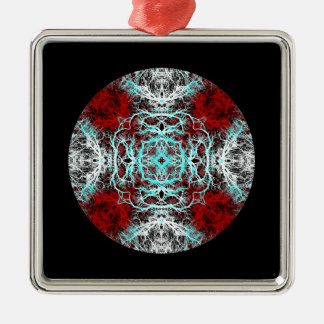 Dramatic Round Pattern. Red and Turquoise. Christmas Tree Ornament