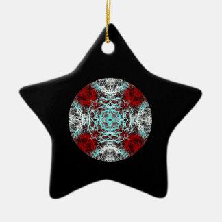 Dramatic Round Pattern. Red and Turquoise. Ornament