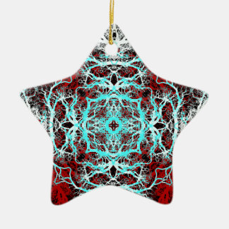 Dramatic Round Pattern. Red and Turquoise. Christmas Ornament