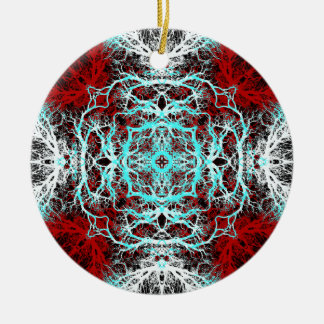 Dramatic Round Pattern. Red and Turquoise. Christmas Tree Ornaments