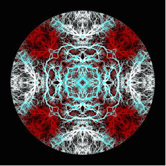 Dramatic Round Pattern. Red and Turquoise. Photo Sculpture Ornament