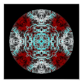 Dramatic Round Pattern. Red and Turquoise. Poster