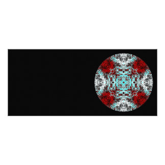Dramatic Round Pattern. Red and Turquoise. Custom Rack Card
